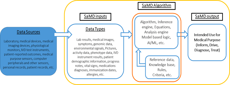 Description of software as a medical device (SaMD) which includes possible data sources from which inputs are derived and that may be used for one or more medical purposes.
